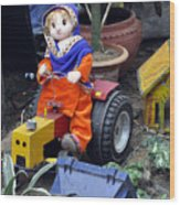 The Tractor Driver Wood Print