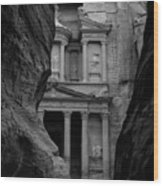 The Treasury - Petra Wood Print by Peter Dorrell