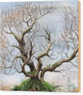 The Tree On The Top Of The Hill  Wood Print