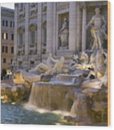 The Trevi Fountain At Dusk Wood Print