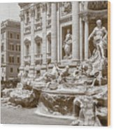 The Trevi Fountain In Sepia Tones Wood Print
