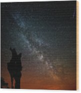 The Trunk Of A Dead Tree, Milky Way And Meteor Wood Print