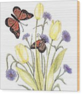 The Tulip And The Butterfly Wood Print