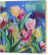 The Tulips Bed Rock Wood Print