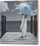 The Turquoise Parasol Wood Print