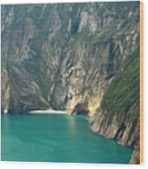 The Turquoise Water At Slieve League Sea Cliffs Donegal Ireland  Wood Print
