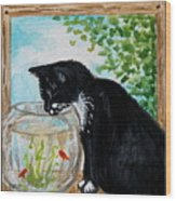 The Tuxedo Cat And The Fish Bowl Wood Print