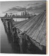 The Twisted Pier Bw Wood Print