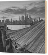 The Twisted Pier Panorama Bw Wood Print