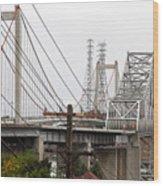 The Two Carquinez Bridges At Crockett And Vallejo California . Aka Alfred Zampa Memorial Bridge . 7d8919 Wood Print