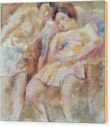 The Two Sleepers Wood Print by Jules Pascin