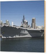 The U S S Midway Docked In San Diego Wood Print