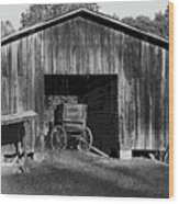 The Undertaker's Wagon Black And White 2 Wood Print