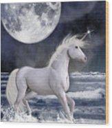 The Unicorn Under The Moon Wood Print