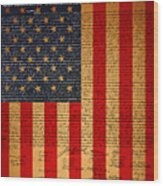 The United States Declaration Of Independence And The American Flag 20130215 Wood Print