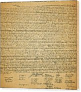 The United States Declaration Of Independence Wood Print