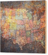 The United States Wood Print by Michael Tompsett