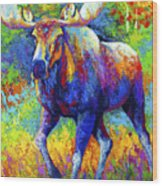 The Urge To Merge - Bull Moose Wood Print