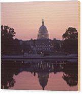The U.s. Capitol Building Reflected Wood Print by Kenneth Garrett