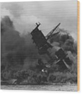 The Uss Arizona Bb-39 Burning After The Japanese Attack On Pearl Harbor Wood Print