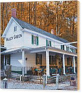 The Valley Green Inn In Autumn Wood Print by Bill Cannon