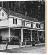 The Valley Green Inn In Black And White Wood Print