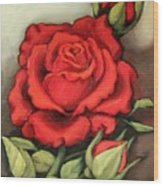 The Very Red Rose Wood Print