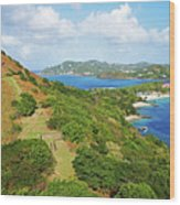 The View From Fort Rodney On Pigeon Island Gros Islet Blue Water Wood Print