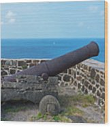 The View From Fort Rodney On Pigeon Island Gros Islet Saint Lucia Cannon Wood Print