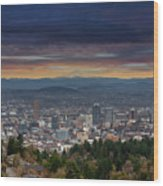 The View From Pittock Mansion Viewpoint Wood Print