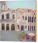 The View Of The Coliseum In Rome Wood Print