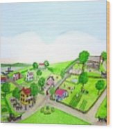 The Village - Colonial Style Art Wood Print