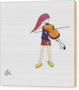 The Violin And The Girl Wood Print