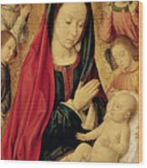 The Virgin And Child Adored By Angels  Wood Print