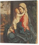 The Virgin And Child Embracing Wood Print by Giovanni Battista Salvi