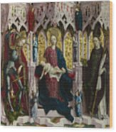 The Virgin And Child Enthroned With Angels And Saints Wood Print