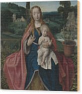 The Virgin And Child In A Landscape Wood Print