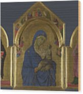 The Virgin And Child With Saints Dominic And Aurea Wood Print