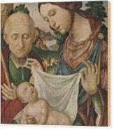 The Virgin And Saint Joseph  Adoring The Christ Child Wood Print