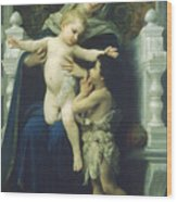 The Virgin Baby Jesus And Saint John The Baptist Wood Print