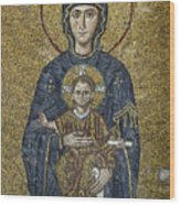 The Virgin Mary Holds The Child Christ On Her Lap Wood Print