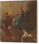 The Virgin Placing St Teresa Under The Protection Of St Joseph Wood Print