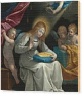 The Virgin Sewing Accompanied By Four Angels. La Couseuse Wood Print
