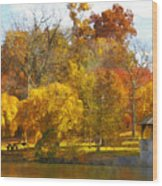 The Vt Duck Pond Wood Print by Kathy Jennings