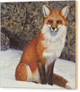 The Wait Red Fox Wood Print