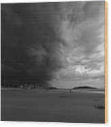 The Wall Of The Storm Good Harbor Beach Gloucester Ma Black And White Wood Print