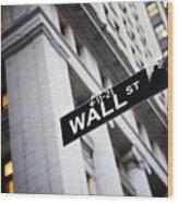 The Wall Street Street Sign Wood Print