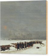 The War Of 1870 An Infantry Column On Their Way To A Raid Wood Print