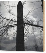 The Washington Monument - Black And White Wood Print