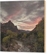The Watchman Sunset Wood Print